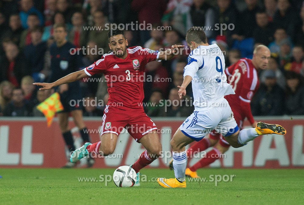 13.10.2014, City Stadium, Cardiff, WAL, UEFA Euro Qualifikation, Wales vs Zypern, Gruppe B, im Bild Wales Neil Taylor in action against Cyprus // 15054000 during the UEFA EURO 2016 Qualifier group B match between Wales and Cyprus at the City Stadium in Cardiff, Wales on 2014/10/13. EXPA Pictures &copy; 2014, PhotoCredit: EXPA/ Propagandaphoto/ Ian Cook<br /> <br /> *****ATTENTION - OUT of ENG, GBR*****