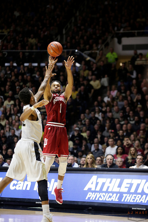 Indiana guard James Blackmon Jr. (1) in action as Purdue played Indiana in an NCCA college basketball game in West Lafayette, Ind., Tuesday, Feb. 28, 2017. (Photo by AJ Mast)