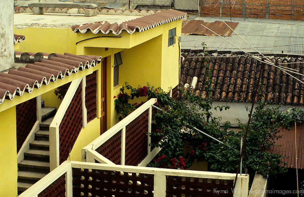 Central America, Guatemala, Antigua. Modest accommodations amongst the residences of Antigua.