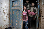 SYRIA - Al Qsair. Children sheltering from Al Asad Forces gun fire and shelling in the city of Al Qsair, on February 23, 2012. ALESSIO ROMENZI