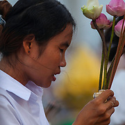 Cambodians gather in Phnom Penh Sunday, Feb. 3, 2012, to offer prayers for former King Norodom Sihanouk who passed away in Beijing, China on Oct. 15, 2012.  Cremation ceremonies for Sihanouk are set of Feb. 4, 2013 in Phnom Penh.
