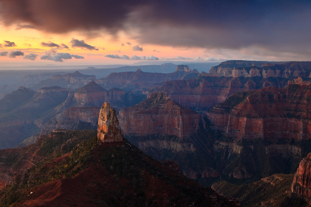 Sunrise on Mount Hayden as viewed from Point Imperial, Grand Canyon National Park.