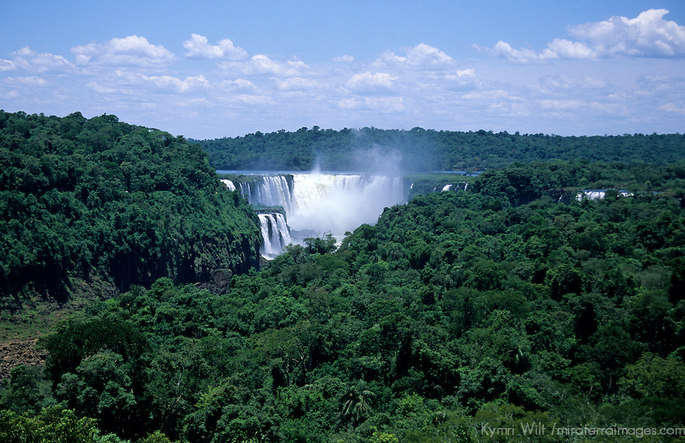 South America, Argentina, Brazil, Iguacu. Iguacu Falls view from Sheraton Internacional