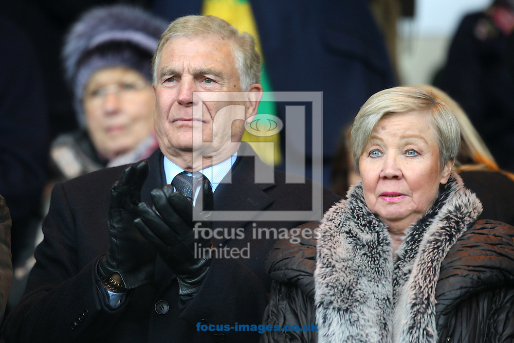 Sir Trevor Brooking and his wife Hilkka before the Barclays Premier League match at Carrow Road, Norwich<br /> Picture by Paul Chesterton/Focus Images Ltd +44 7904 640267<br /> 13/02/2016