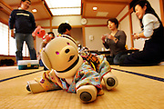 AIBO CLUB MEETING at their usual place, a Japanese style room in Kawasaki. A social meeting with tea and sweets where the members bring their AIBOs to interact, they dress them up in the latest AIBO fashions and in the end they have a beauty competition. - TOKYO  13/2/2005
