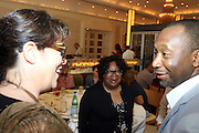 24 June 2010- Miami Beach, Florida- l to r: Brown Johnson, Janice Burgess, Creator of the Backyardigans and Browne Johnson, President of Nickelodeon Animation at the The 2010 American Black Film Festival Founder's Brunch held at Emeril's on June 24, 2010. Photo Credit: Terrence Jennings/Sipa