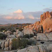 Rocky landscape above campground at sunset, Joshua Tree National Park