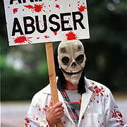 .Animal rights protestors outside Imutran in Cambridge.