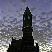 Silhouette of architectural details of the Jefferson Library in Greenwich Village before sunset in the winter
