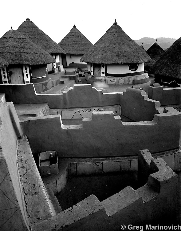 The intricate maze of walls demarcates each family courtyard in the sacred village of Shongwezi in the mountains above Louis Trichardt, Limpopo Province South Africa, July1989. The Mphephu royalty are buried in a sacred grove here, and the village exists to protect and serve the spirits of the ancestors. Greg Marinovich