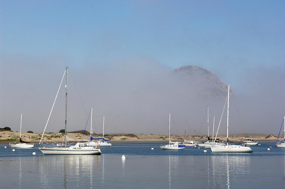 Morro Rock over Bay, Fog, Morro Bay, California, United States of America