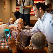 URBANDALE, IA - JULY 8: Republican presidential hopeful Sen. Marco Rubio (R-FL) talks with members of the Westside Conservative Club Wednesday, July 8, 2015, during a breakfast meeting at the Machine Shed Restaurant in Urbandale, Iowa. Scott Morgan for The New York Times