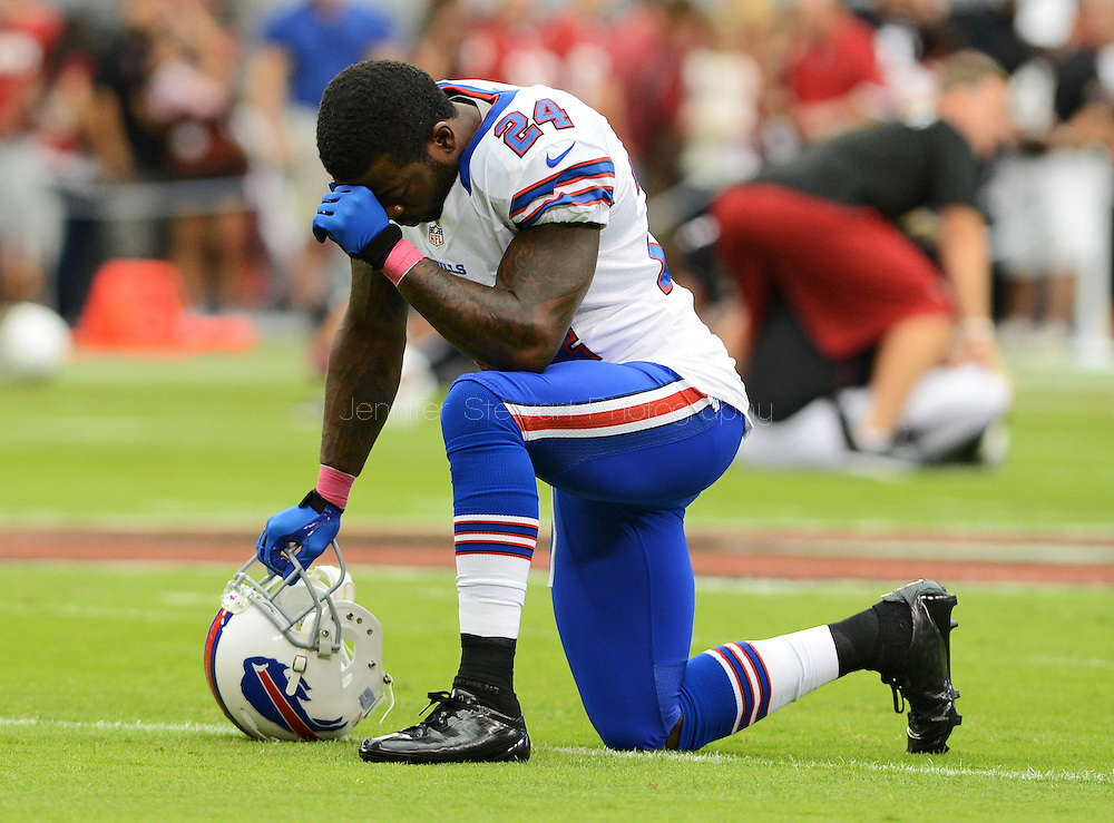 Oct. 14, 2012; Glendale, AZ, USA; Buffalo Bills cornerback Terrence McGee (24) warms up prior to the game against the Arizona Cardinals at University of Phoenix Stadium. Mandatory Credit: Jennifer Stewart-US PRESSWIRE