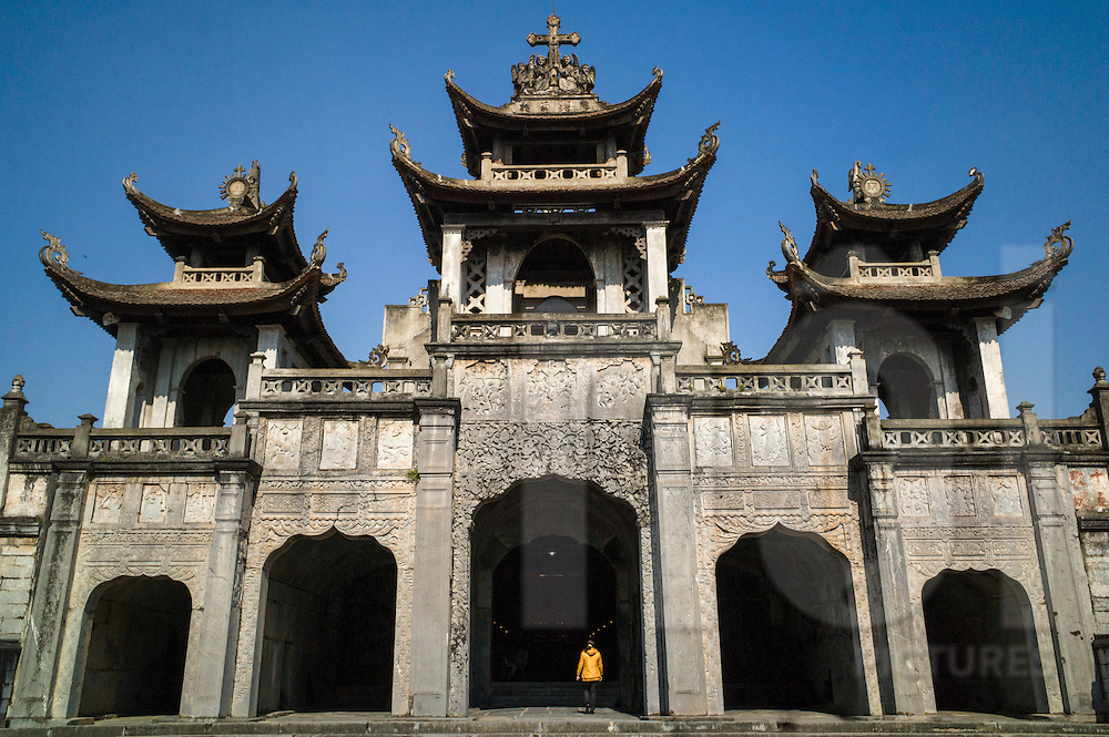 Facade of Phat Diem Cathedral, Ninh Binh Province, Vietnam, Southeast Asia