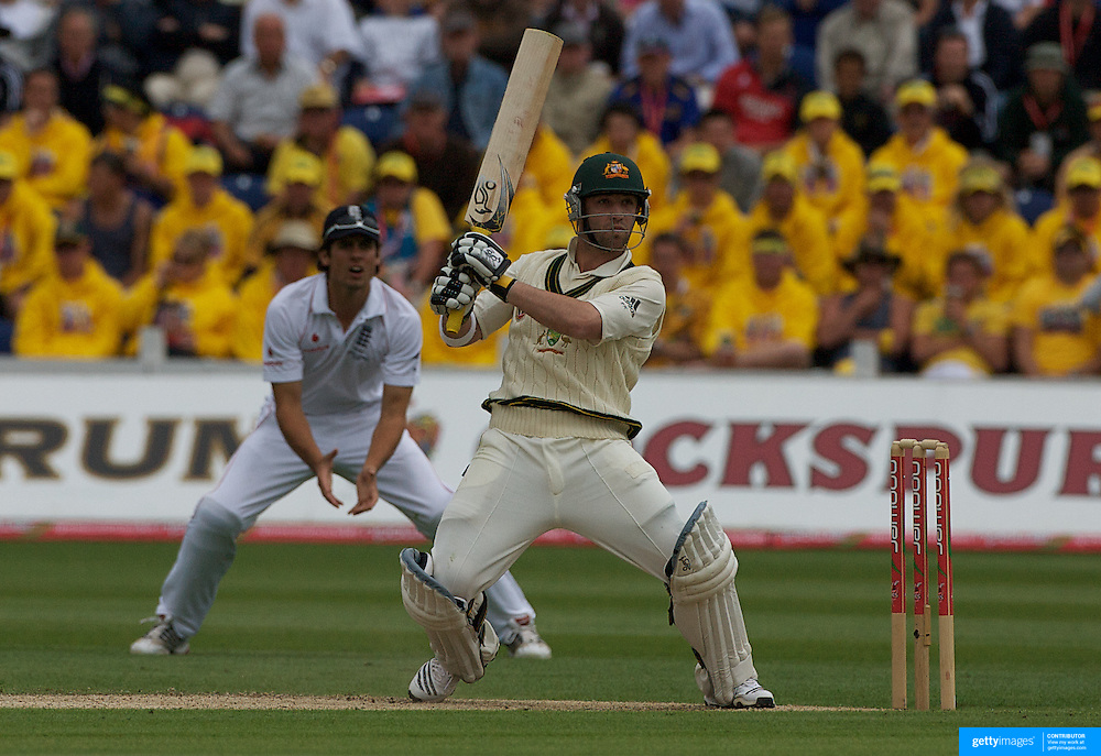 Phillip Hughes batting during the England V Australia  Ashes Test series at Cardiff, Wales, on Thursday, July 09, 2009. Photo Tim Clayton.