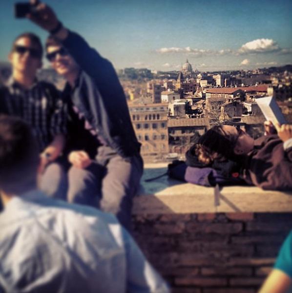 Rome 2015: tourists taking selfies at Rome's Giardino degli Aranci, Aventino.