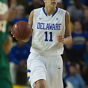 Delaware Junior Forward Elena Delle Donne (11) brings the ball up court late in the second half of an NCAA college basketball game against George Mason Thursday, Feb. 23, 2012, at the Bob Carpenter Center in Newark, Del. (AP Photo/Saquan Stimpson)