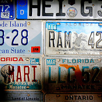 ANNA MARIA ISLAND, FL -- July 9, 2009 -- License plates donated from customers hang underneath the bar at Duffy's Tavern on Anna Maria Island in Manatee County, Fla., on Thursday, July 9, 2009.