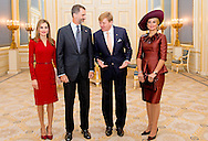 15-10- 2014 THE HAGUE - King Willem  Alexander and Her Majesty Queen Maxima received Wednesday, October 15th, 2014 King Felipe VI and Her Majesty Queen Letizia of Spain for a one-day visit. The Spanish royal couple will be accompanied by Minister Jose Manuel Soria of Industry, Energy and Tourism. COPYRIGHT ROBIN UTRECHT