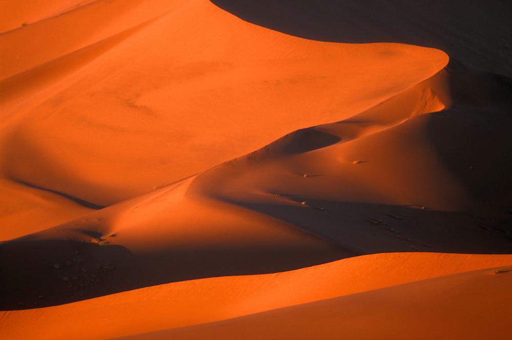 Africa, Namibia, Namib Naukluft National Park, Morning sun lights sand dunes in Namib Desert near Sossusvlei