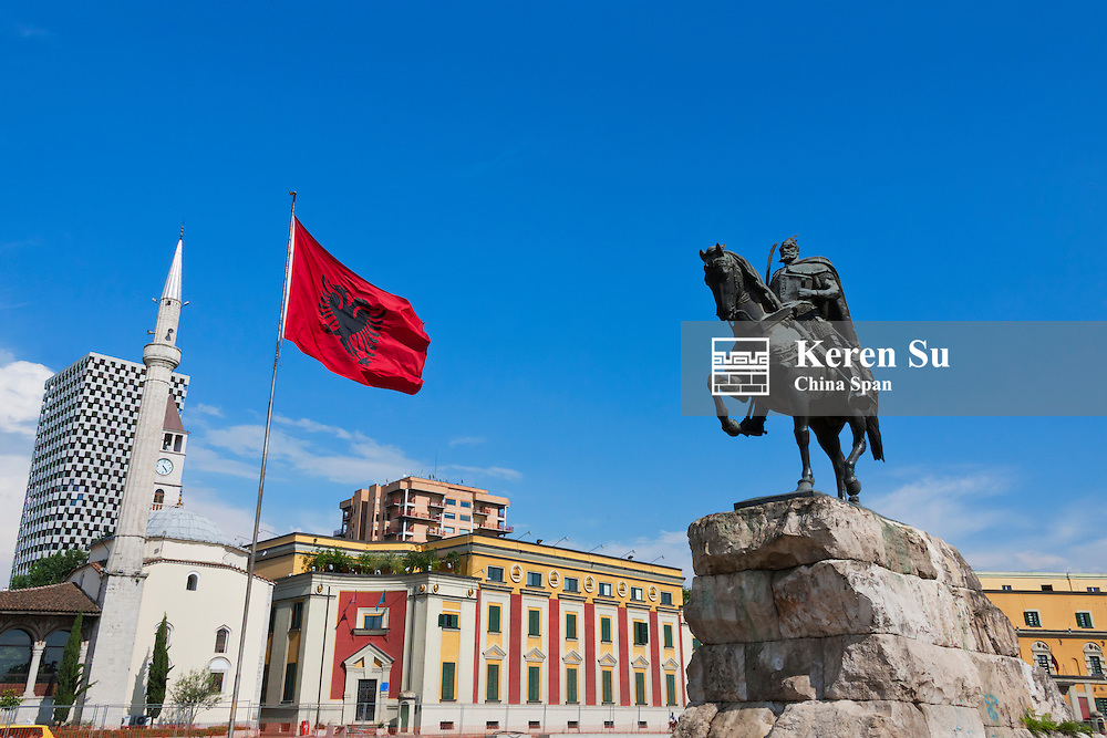 Statue of Skanderbeg, Et'hem Bey Mosque and Clock Tower, Coin Shopping Center housing the Italian Department Store and Ministry of Defence  in Skanderbeg Square, Tirana, Albania