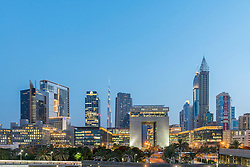 Evening view of DIFC and financial and business district of Dubai United Arab Emirates