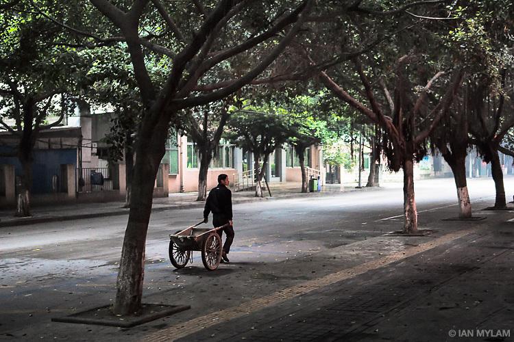 Man with Cart - Chengdu, China