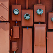 Line up of electric meters