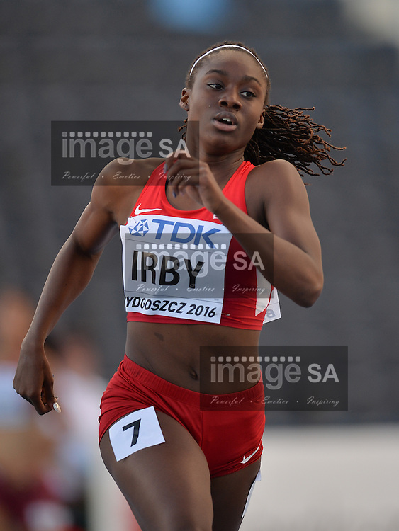 BYDGOSZCZ, POLAND - JULY 19: Lynna Irby of the USA in the heats of the women's 400m during the afternoon session on day 1 of the IAAF World Junior Championships at Zawisza Stadium on July 19, 2016 in Bydgoszcz, Poland. (Photo by Roger Sedres/Gallo Images)