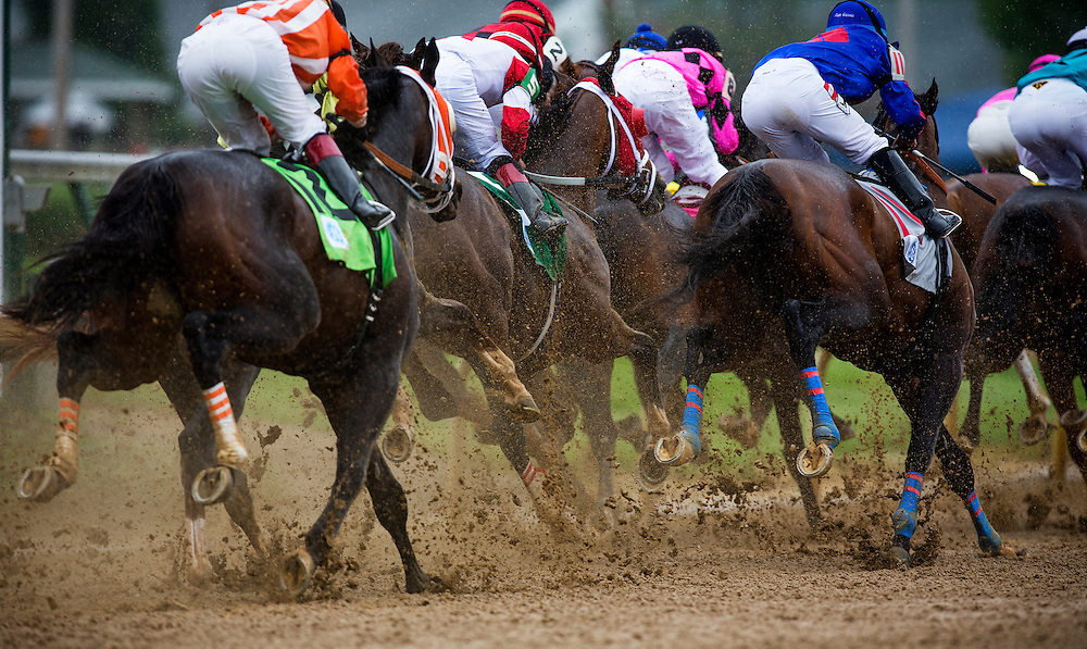 The track derby day was downgraded to Sloppy at Churchill Downs in Louisville, KY on May 04, 2013. (Alex Evers/ Eclipse Sportswire)