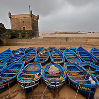 Boats are nestled in safety from a fierce storm that blew through Essaouira, Morocco on a February evening, 2010.
