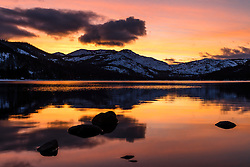 """Donner Lake Sunset 37"" - Photograph of a bright orange sunset at Donner Lake in Truckee, California."