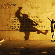 The Greek Royal Guard originally named 'Efzones' are known for their unique uniform. Historically an elite light army infantry they went through countless battles to keep Greece's independence. Nowadays they are known as an elite ceremonial unit that guards the Greek Tomb of the Unknown Soldier in front of the Parliament House in Athens, Greece.