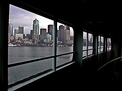 A Washington State Ferry approachs Seattle during a Puget Sound Crossing from the Kitsap Peninsula.