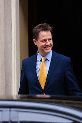 Downing Street, London, March 30th 2015. Deputy Prime Minister and leader of the Liberal Democrats Nick Clegg leaves 10 Downing Street as Prime Minister Cameron visits the Queen to announce the May 7th general election.