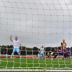 Berwick keeper Kevin Walker is helpless as Forfar striker Jim Lister hails team mate Lewis Milne's thunderous strike that put his side 1-0 up at Shielfield Park.....(c) BILLY WHITE | SportPix.org.uk