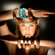 Fashion - Donna Baldwin Talent Inc. model Aubrey Brewer of Colorado Springs wearing some of the summer season's hottest wooden jewelry. Shot in the RMN studio on Thursday June 23, 2005..(MARC PISCOTTY/ © 2005)