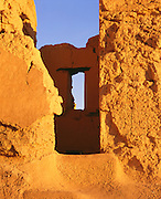 0102-1005B ~ Copyright: George H. H. Huey ~ Wall and window detail at the Casa Grande. Hohokam culture. Four story structure built and occupied ca. 1300-1450. Casa Grande Ruins National Monument, Arizona.