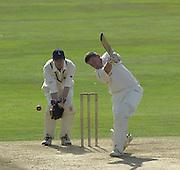 Photo Peter Spurrier.01/09/2002.Village Cricket Final - Lords.Elvaston C.C. vs Shipton-Under-Wychwood C.C..Shipton Skipper Paul Hemmings striking out at a ball bowled by  Elvaston's Ian Hall