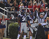 Ole Miss' Brandon Bolden (34) makes a touchdown catch and celebrates with Ole Miss' Donte Moncrief (12) vs. Louisiana Tech in Oxford, Miss. on Saturday, November 12, 2011.