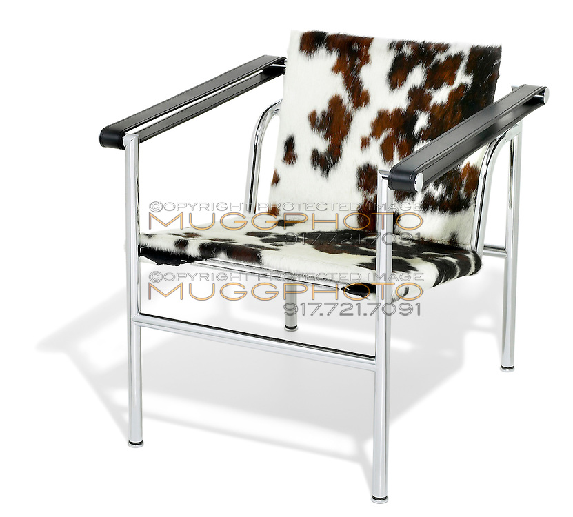 pony covered basculant LC1 chair by le corbusier photographed on white