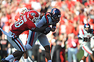 Ole Miss tight end Jamal Mosley (17) catches a touchdown pass vs. Georgia free safety Bacarri Rambo (18) at Sanford Stadium in Athens, Ga. on Saturday, November 3, 2012.