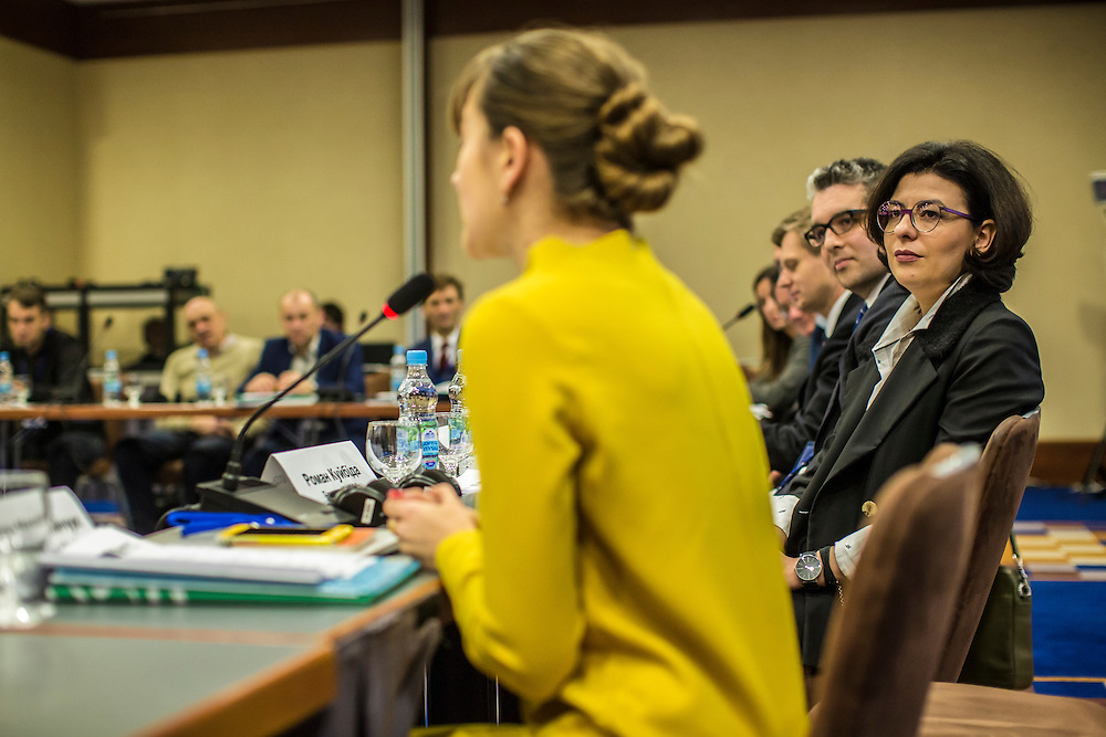 KIEV, UKRAINE - MARCH 4, 2016: Oksana Syroyid, right, deputy speaker of the Ukrainian parliament, participates in a roundtable discussion on strengthening the judicial system in Kiev, Ukraine. Syroyid is one of parliament's main opponents of the constitutional reforms called for in the Minsk agreement intended to resolve fighting in eastern Ukraine. CREDIT: Brendan Hoffman for The New York Times