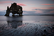 The volcanic stack off the shoreline at Hvitserkur in northern Iceland