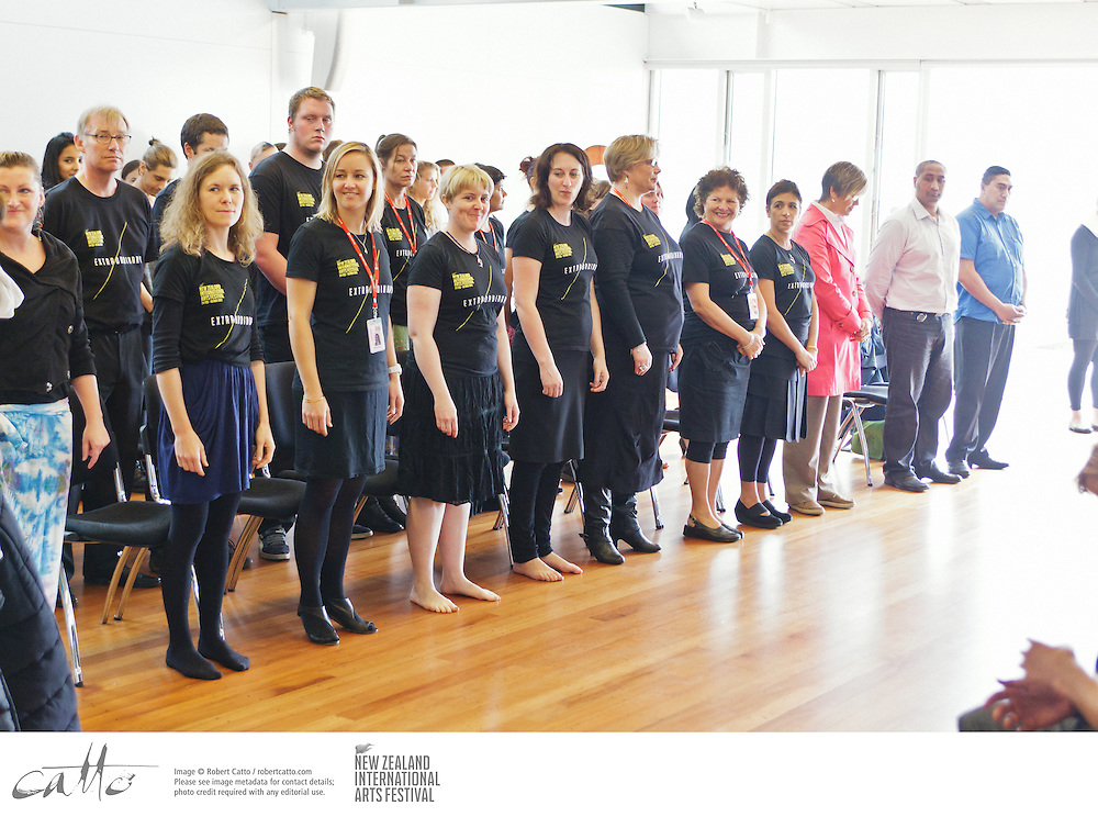 Staff and crew of the New Zealand International Arts Festival welcome local and international artists to Wellington at a traditional powhiri ceremony.