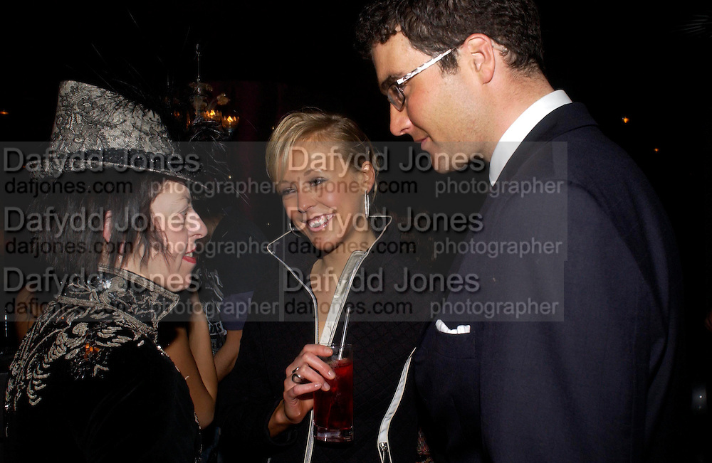 Isabella Blow,David Peacock and Lady Alexandra Spencer-Churchill.  party given by Daphne Guinness for Christian Louboutin  after the opening of his new shopt.  Baglione Hotel. 16 March 2004.  ONE TIME USE ONLY - DO NOT ARCHIVE  © Copyright Photograph by Dafydd Jones 66 Stockwell Park Rd. London SW9 0DA Tel 020 7733 0108 www.dafjones.com