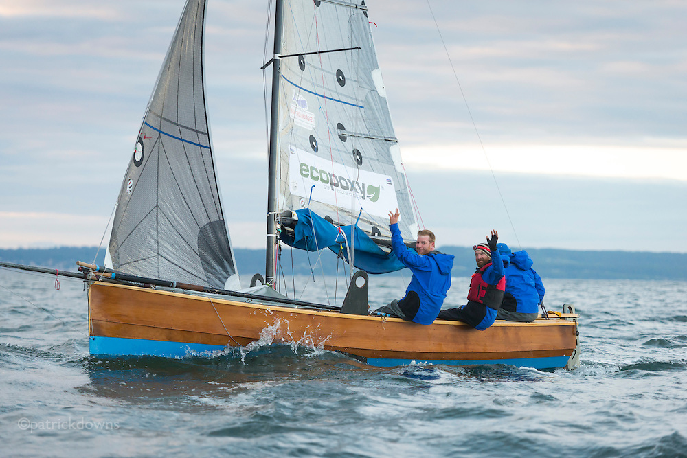 Image from the 1st R2AK, Port Townsend's Race to Alaska. All the boats are wind and/or human powered (oars, paddles, pedals) ... no motors allowed. The race kicked off June 4, 2015, with the 1st leg to Victoria, B.C. http://r2ak.com/