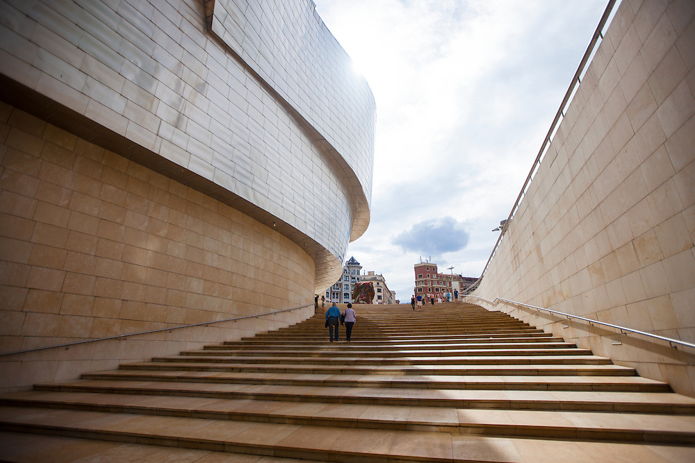 Stairs at Guggenheim museum in Bilbao, Spain