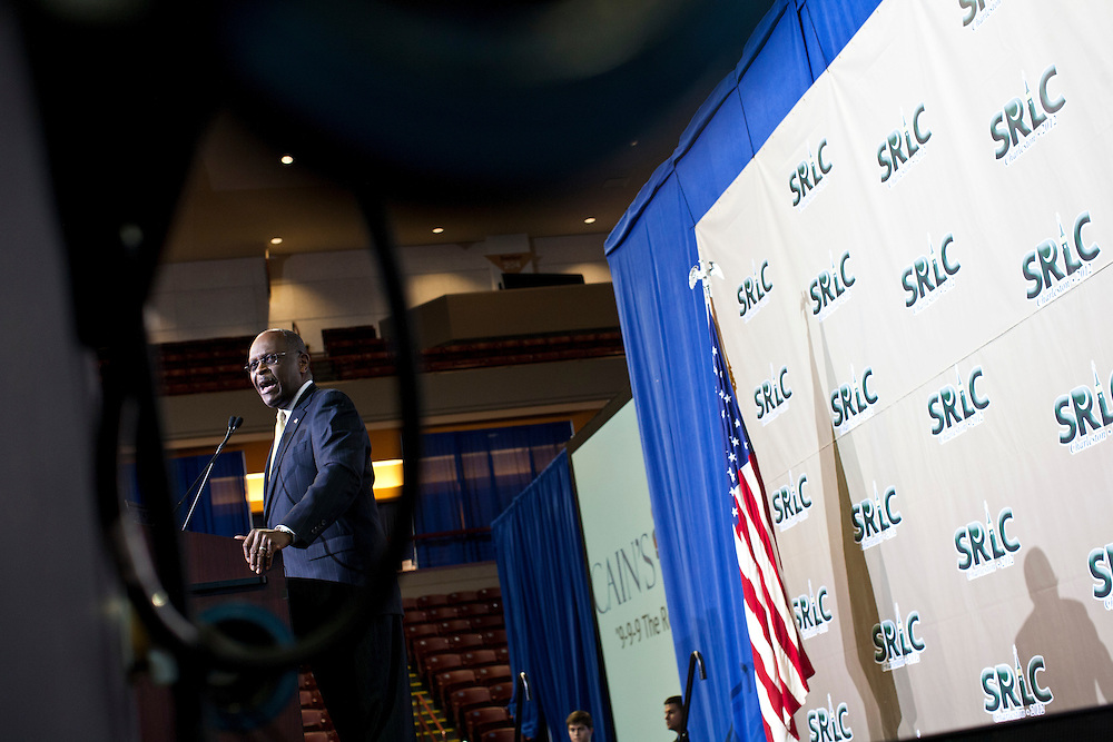 Former Republican presidential candidate Herman Cain speaks at the Southern GOP Leadership Conference on Thursday, January 19, 2012 in Charleston, SC.