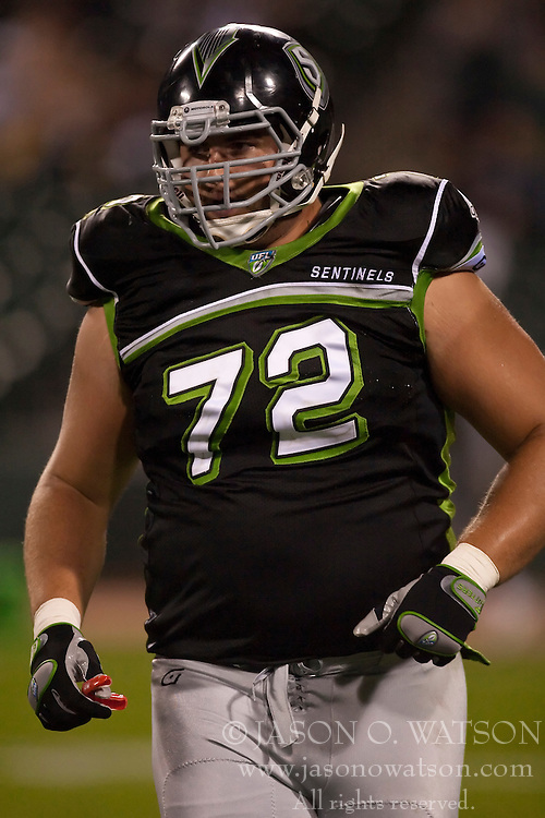 October 17, 2009; San Francisco, CA, USA;  New York Sentinels offensive lineman Michael Fladell (72) during the third quarter against the California Redwoods at AT&T Park.  California defeated New York 24-7.
